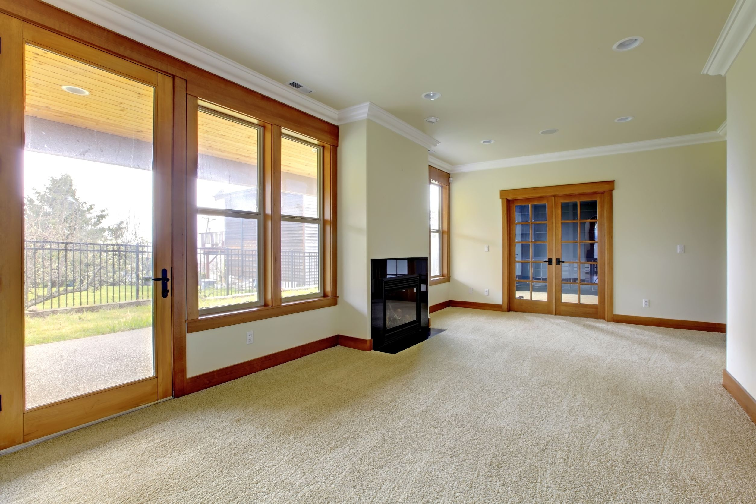 18283820 - empty large room with fireplace. new luxury home interior.
